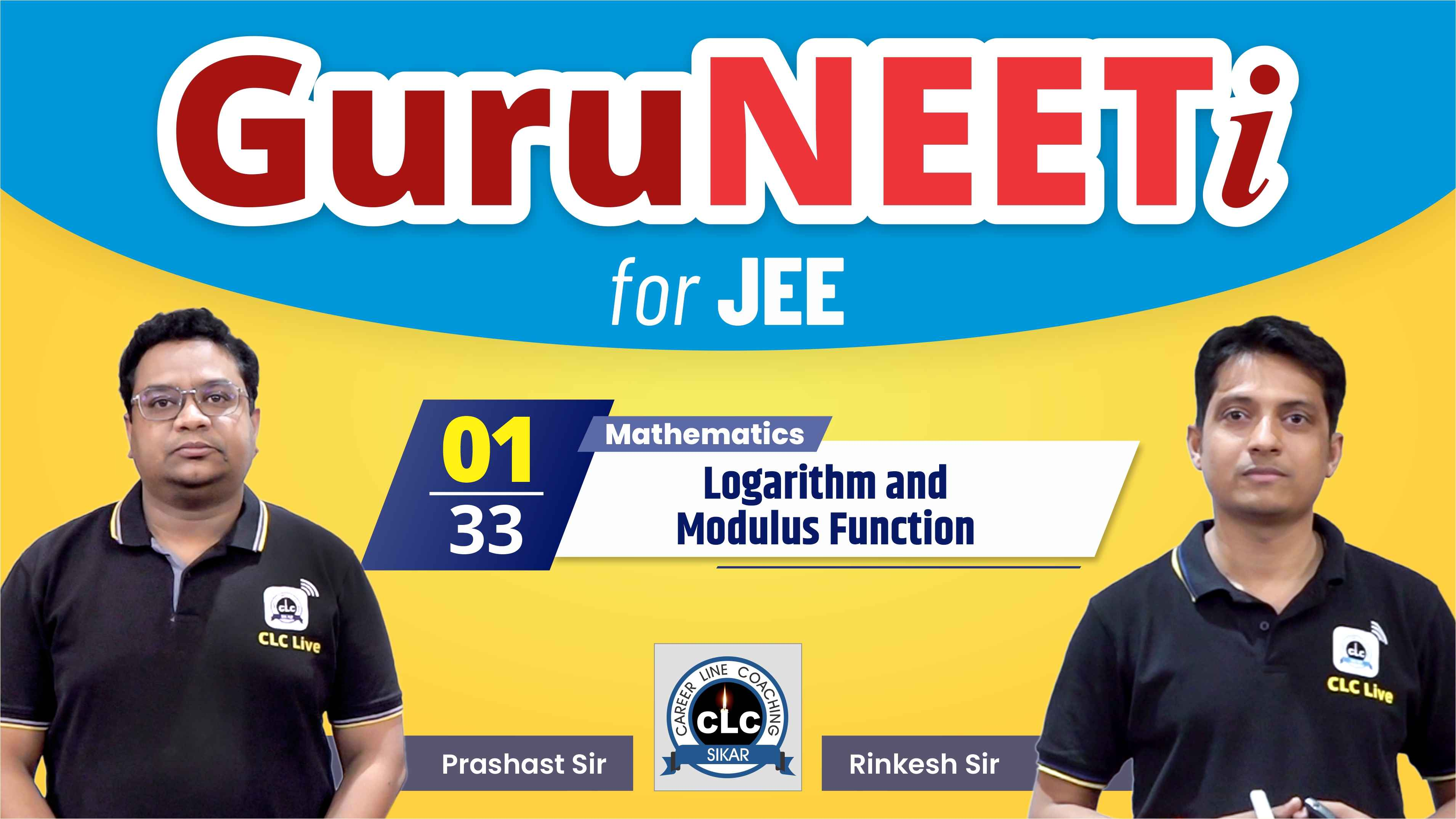 1/33 Maths || GuruNEETi for JEE || 100vs100 || CLC